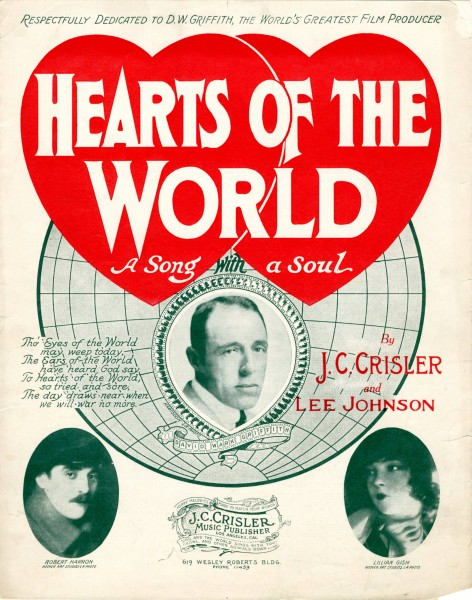 Sheet music cover - HEARTS OF THE WORLD (1918)