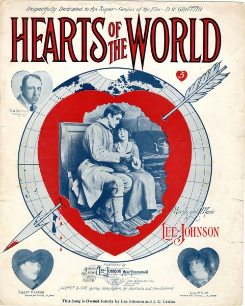 Sheet music cover - HEARTS OF THE WORLD (1918) (variant)