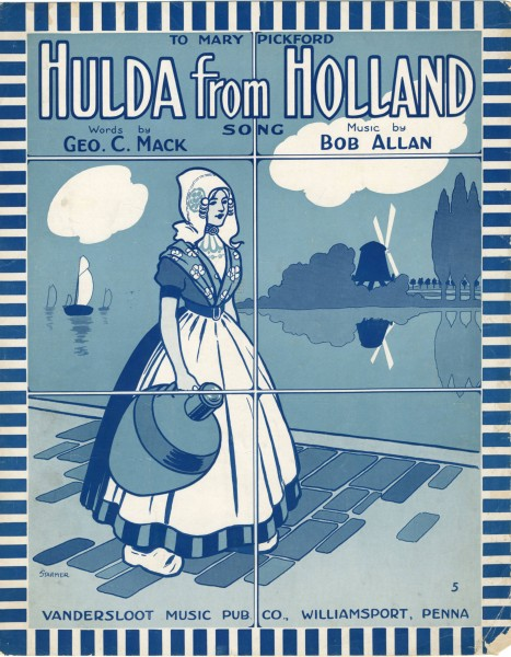 Sheet music cover - HULDA FROM HOLLAND (1917)