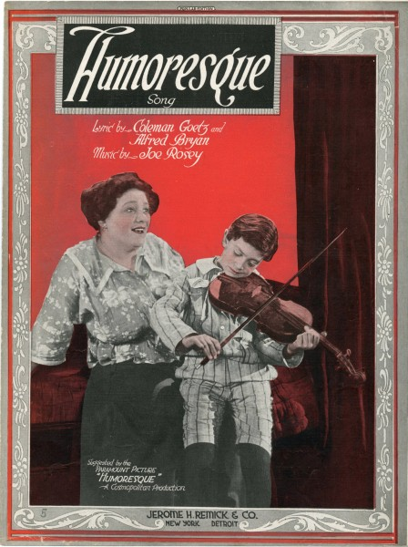 Sheet music cover - HUMORESQUE - SONG (1920)