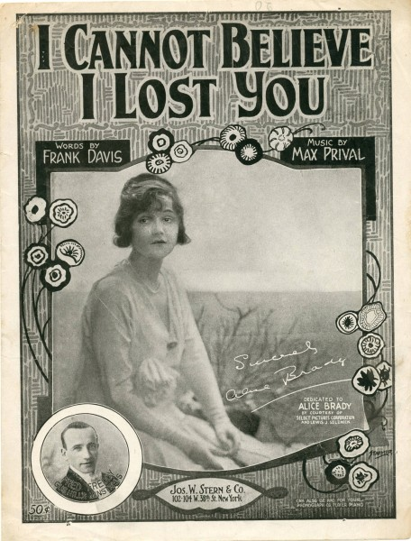 Sheet music cover - I CANNOT BELIEVE I LOST YOU (1919)
