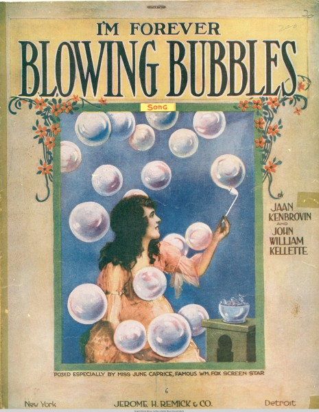 Sheet music cover - I'M FOREVER BLOWING BUBBLES - SONG (1919) (variant)
