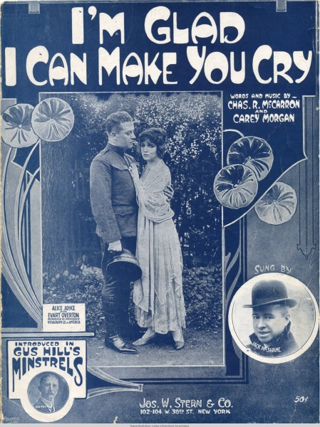 Sheet music cover - I'M GLAD I CAN MAKE YOU CRY (1918)