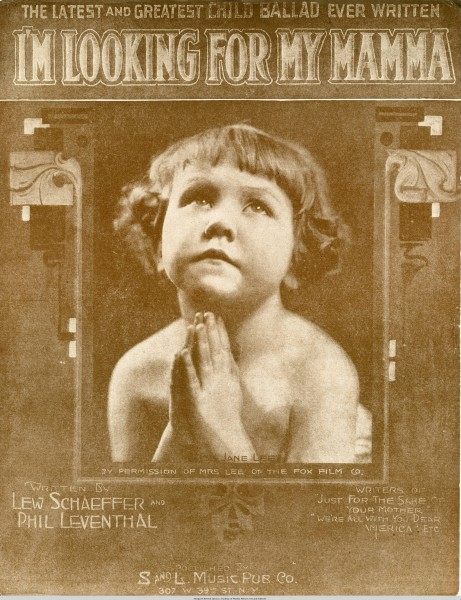 Sheet music cover - I'M LOOKING FOR MY MAMMA (1919)