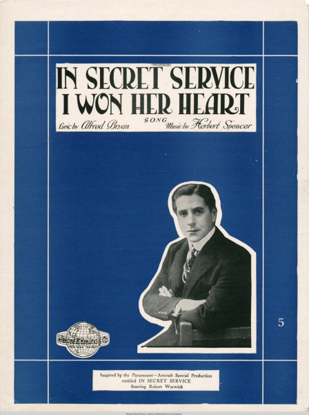 Sheet music cover - IN SECRET SERVICE I WON HER HEART - SONG (1919)