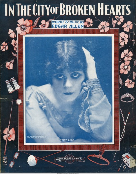 Sheet music cover - IN THE CITY OF BROKEN HEARTS (1916)