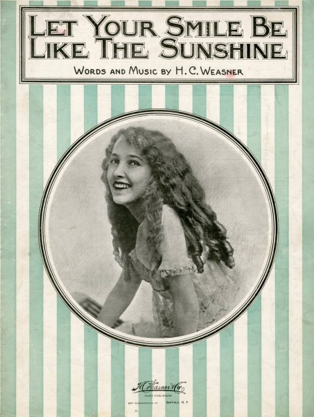 Sheet music cover - LET YOUR SMILE BE LIKE THE SUNSHINE (1920)