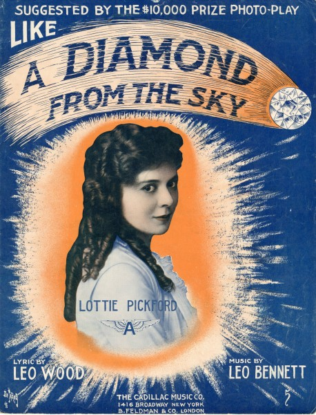 Sheet music cover - LIKE A DIAMOND FROM THE SKY (1915)
