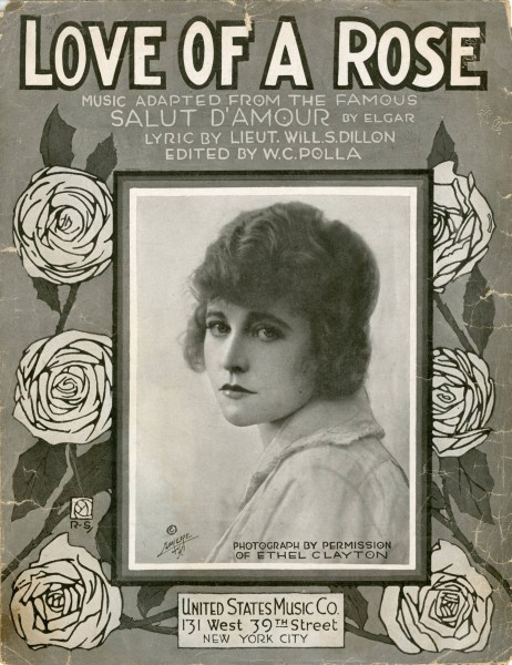 Sheet music cover - LOVE OF A ROSE (1919)