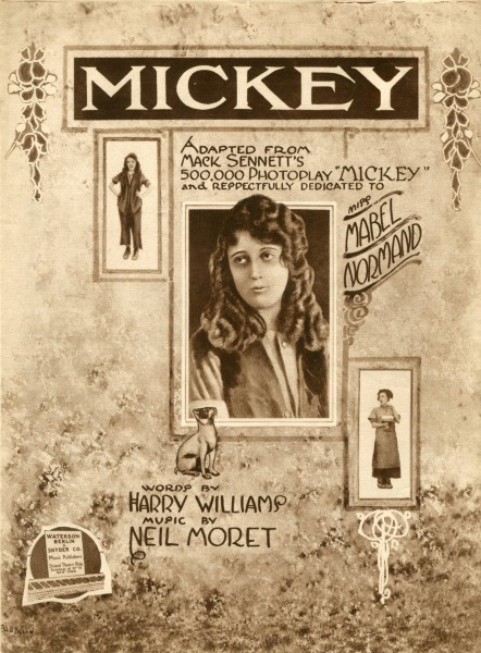 Sheet music cover - MICKEY (1918) (variant)