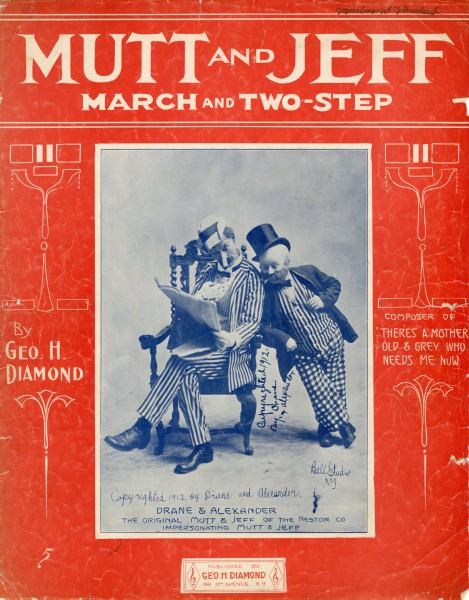 Sheet music cover - MUTT AND JEFF - MARCH AND TWO-STEP (1912)