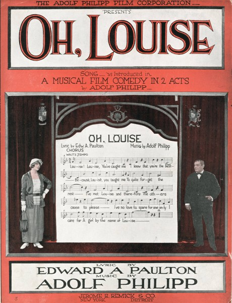 Sheet music cover - OH, LOUISE (1919)
