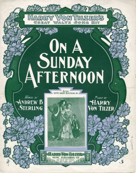 Sheet music cover - ON A SUNDAY AFTERNOON (1902)