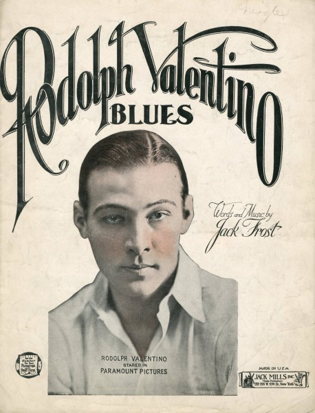 Sheet music cover - RODOLPH VALENTINO BLUES (1922)