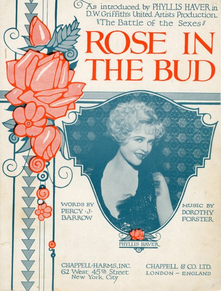 Sheet music cover - ROSE IN THE BUD - SONG (1907)