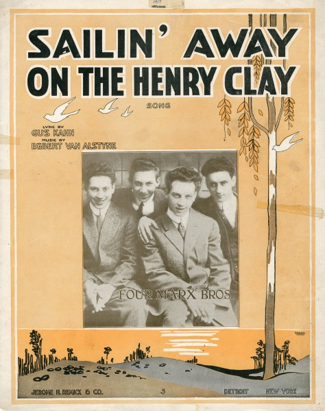 Sheet music cover - SAILIN' AWAY ON THE HENRY CLAY - SONG (1917)