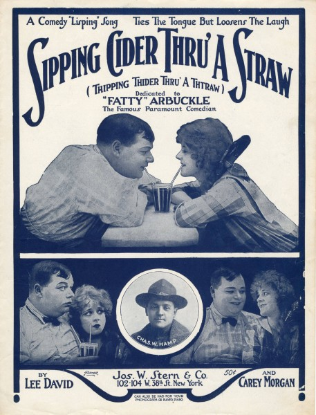 Sheet music cover - SIPPING CIDER THRU' A STRAW = THIPPING THIDER THRU' A THTRAW (1919)