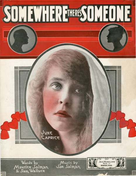 Sheet music cover - SOMEWHERE, THERE'S SOMEONE (1918)