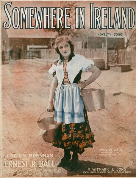 Sheet music cover - SOMEWHERE IN IRELAND (1917)