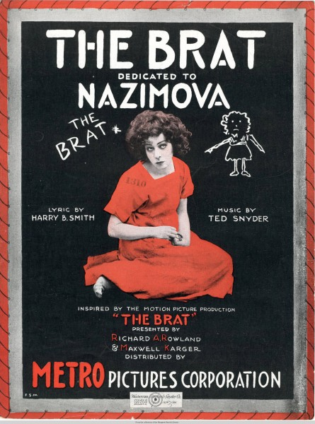 Sheet music cover - THE BRAT (1919)