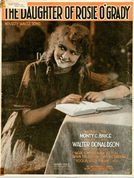 Sheet music cover - THE DAUGHTER OF ROSIE O'GRADY (1918)