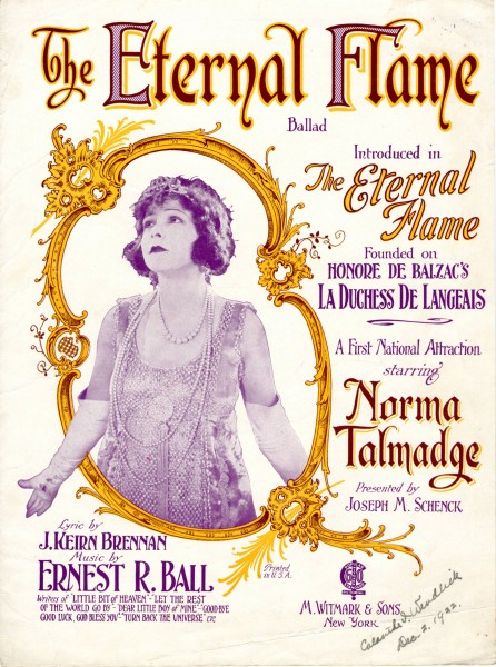 Sheet music cover - THE ETERNAL FLAME - BALLAD (1922)