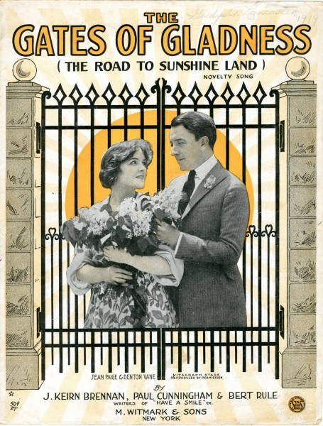 Sheet music cover - THE GATES OF GLADNESS - ON THE ROAD TO SUNSHINE LAND (1919)