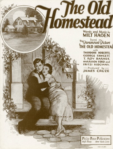 Sheet music cover - THE OLD HOMESTEAD (1922)