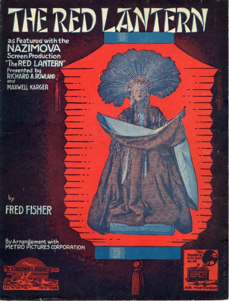 Sheet music cover - THE RED LANTERN (1919)