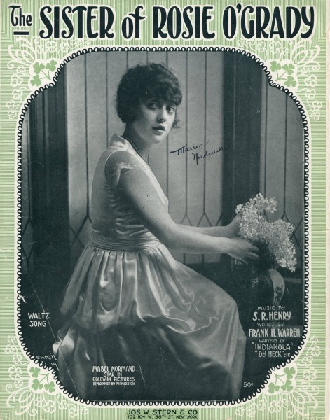 Sheet music cover - THE SISTER OF ROSIE O'GRADY (1918)
