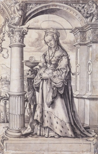 St Barbara, Design for a Stained Glass Window, by Hans Holbein the Younger