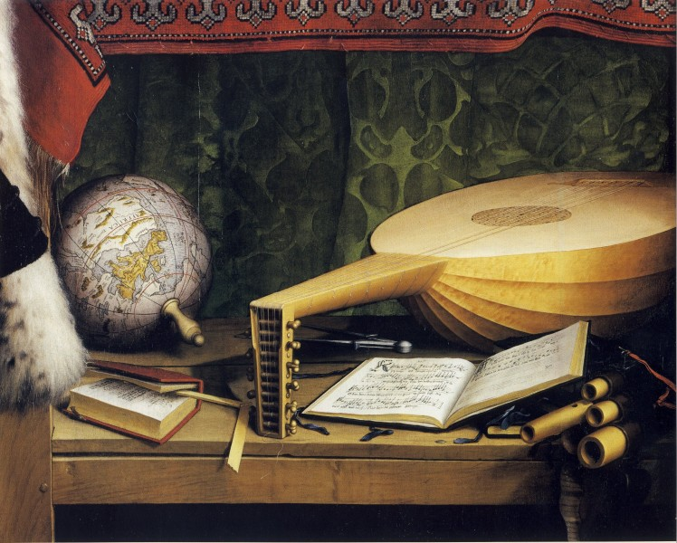The Ambassadors, detail of globe, lute, and books, by Hans Holbein the Younger of Death, by Hans Holbein the Younger