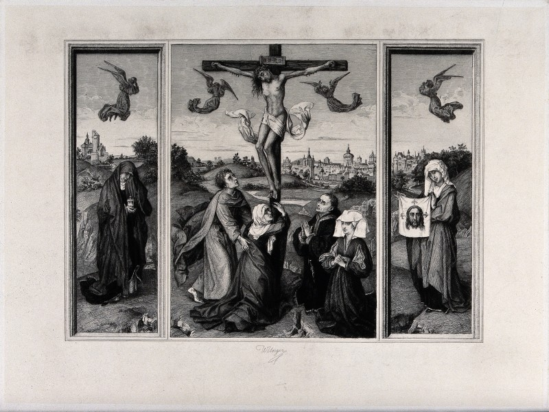 The crucifixion of Christ; the three Maries lament. Etching Wellcome V0034789