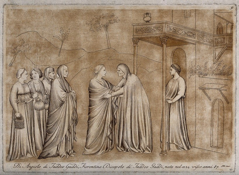 The Visitation of Mary to Elizabeth (?). Engraving by S. Mul Wellcome V0034491