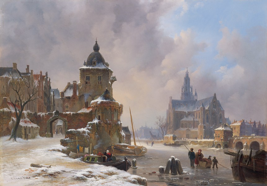 Winter cityscape with frozen river, by Bartholomeus Johannes van Hove