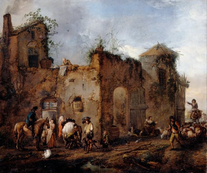 Wouwerman, Philips - Courtyard with a Farrier shoeing a Horse - Google Art Project