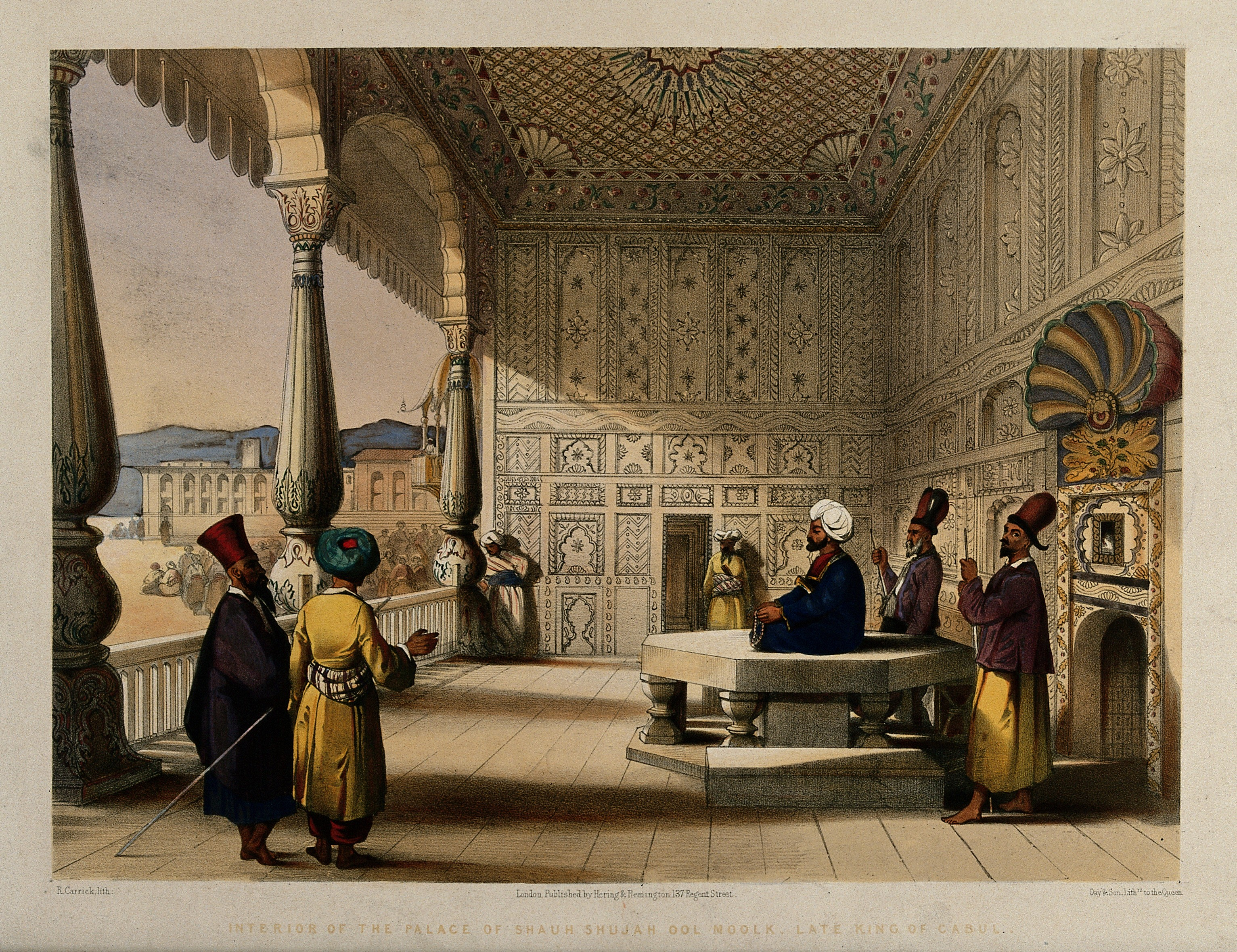 Shuja Shah Durrani and Men in his decorated palace Wellcome V0050531