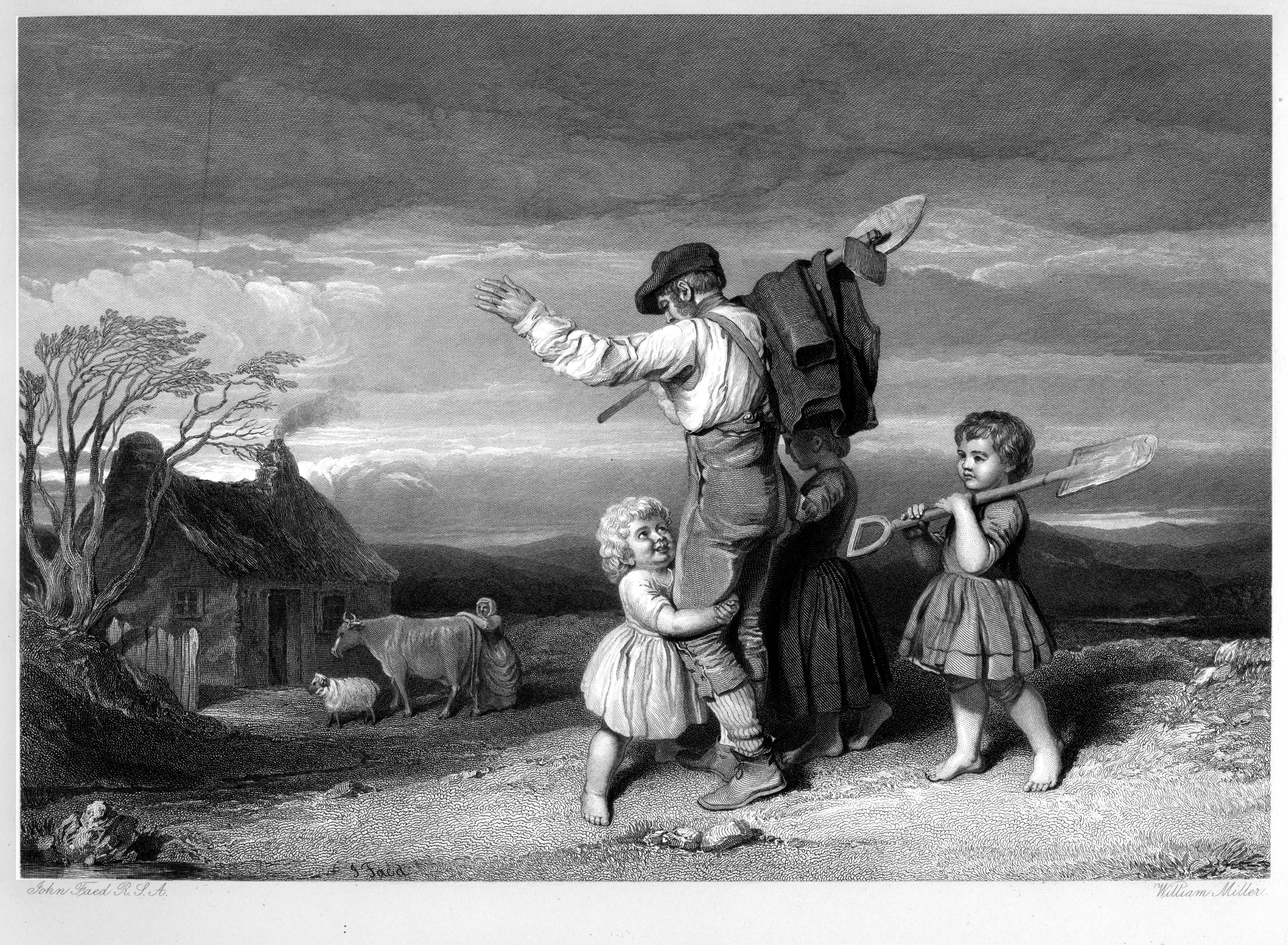 Th' expectant wee things....engraving by William Miller after J Faed