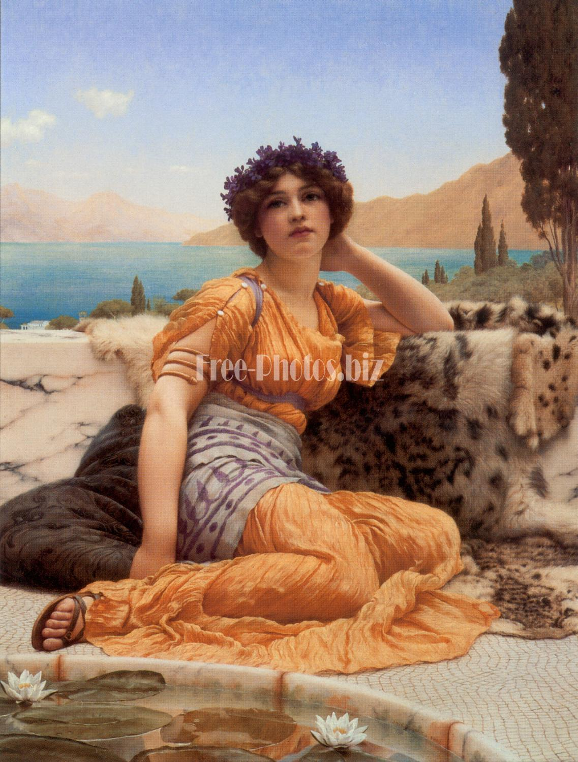 Godward With Violets Wreathed and Robe of Saffron Hue 1902