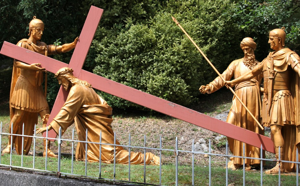 the Way of the Cross in Lourdes, France, August 2013, station 3/14