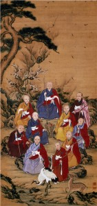 Patriarchs of Zen Buddhism Yamamoto Jakurin Hanging scroll color on silk Kofukuji-ji temple Nagasaki Pref