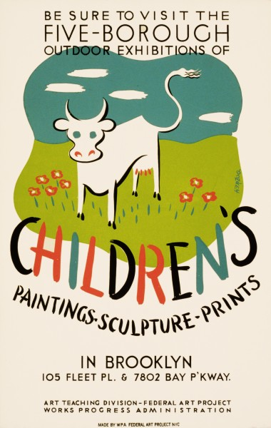 Children's paintings-sculpture-prints, WPA poster, 1936-41