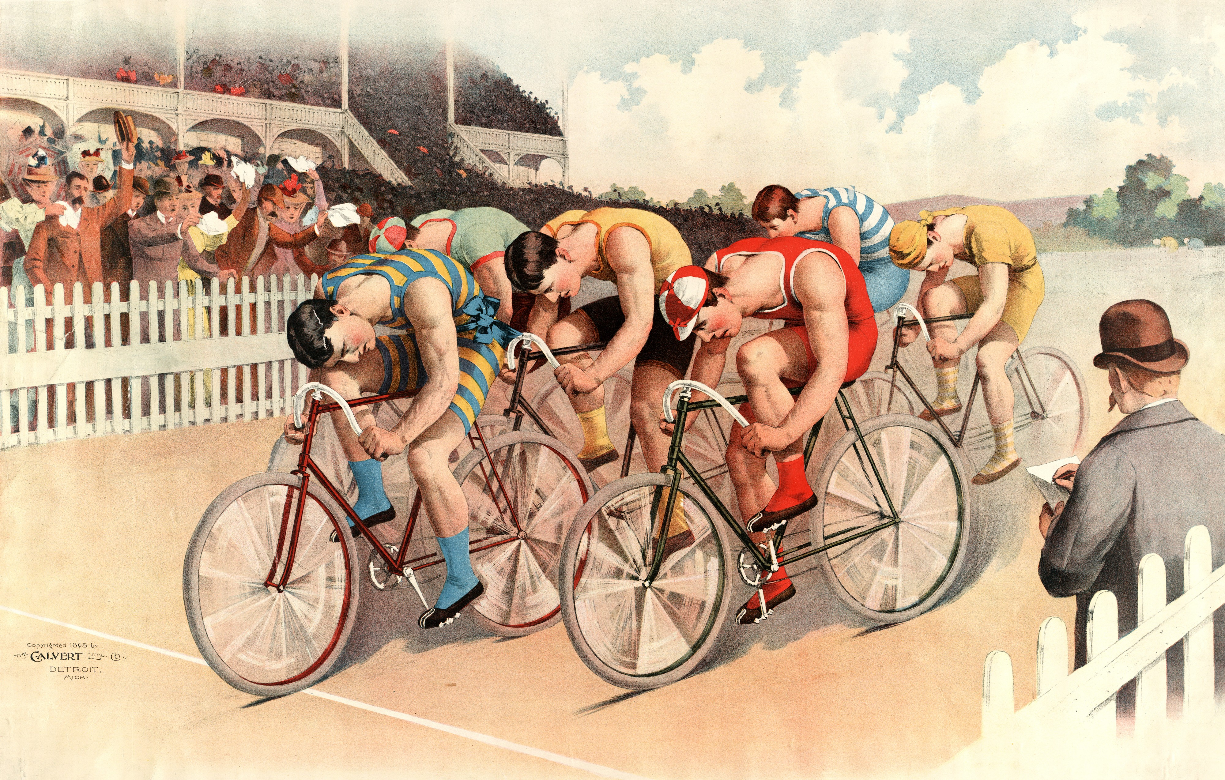 Bicycle race scene, 1895