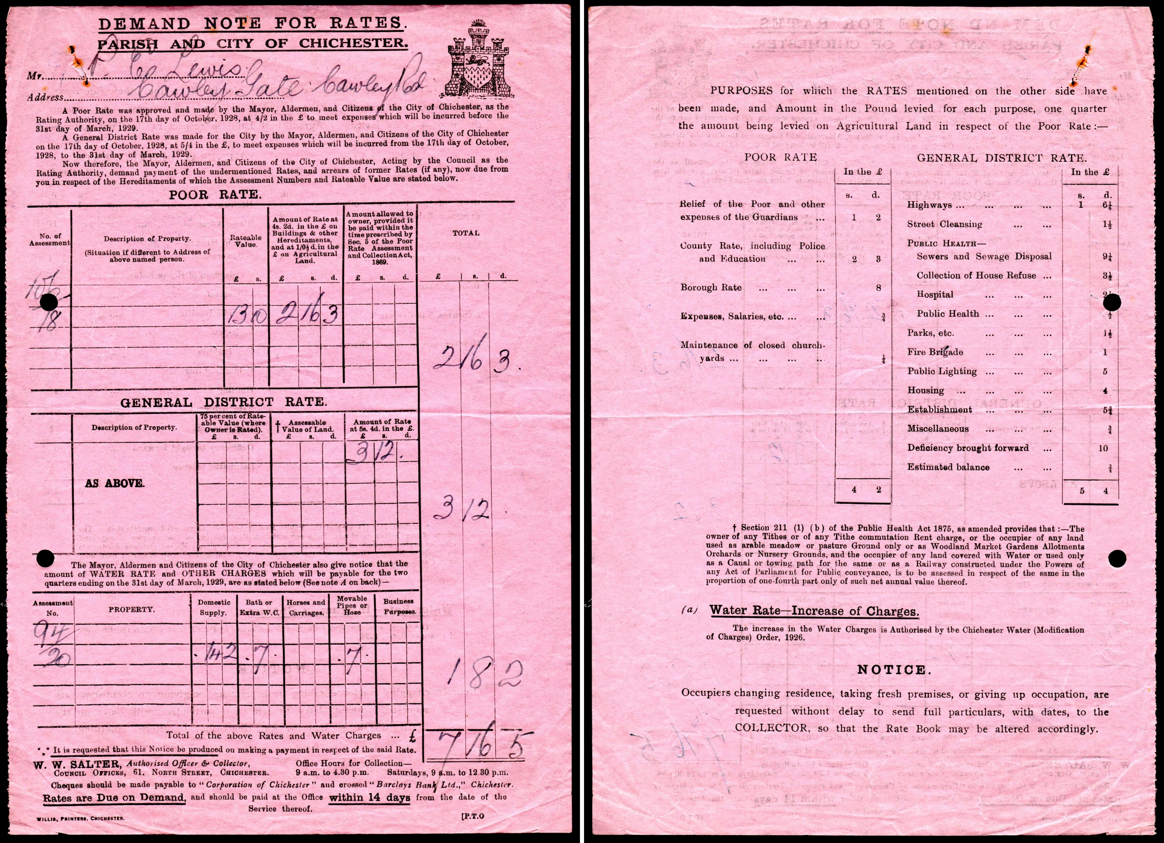 Chichester local rates bill 1929