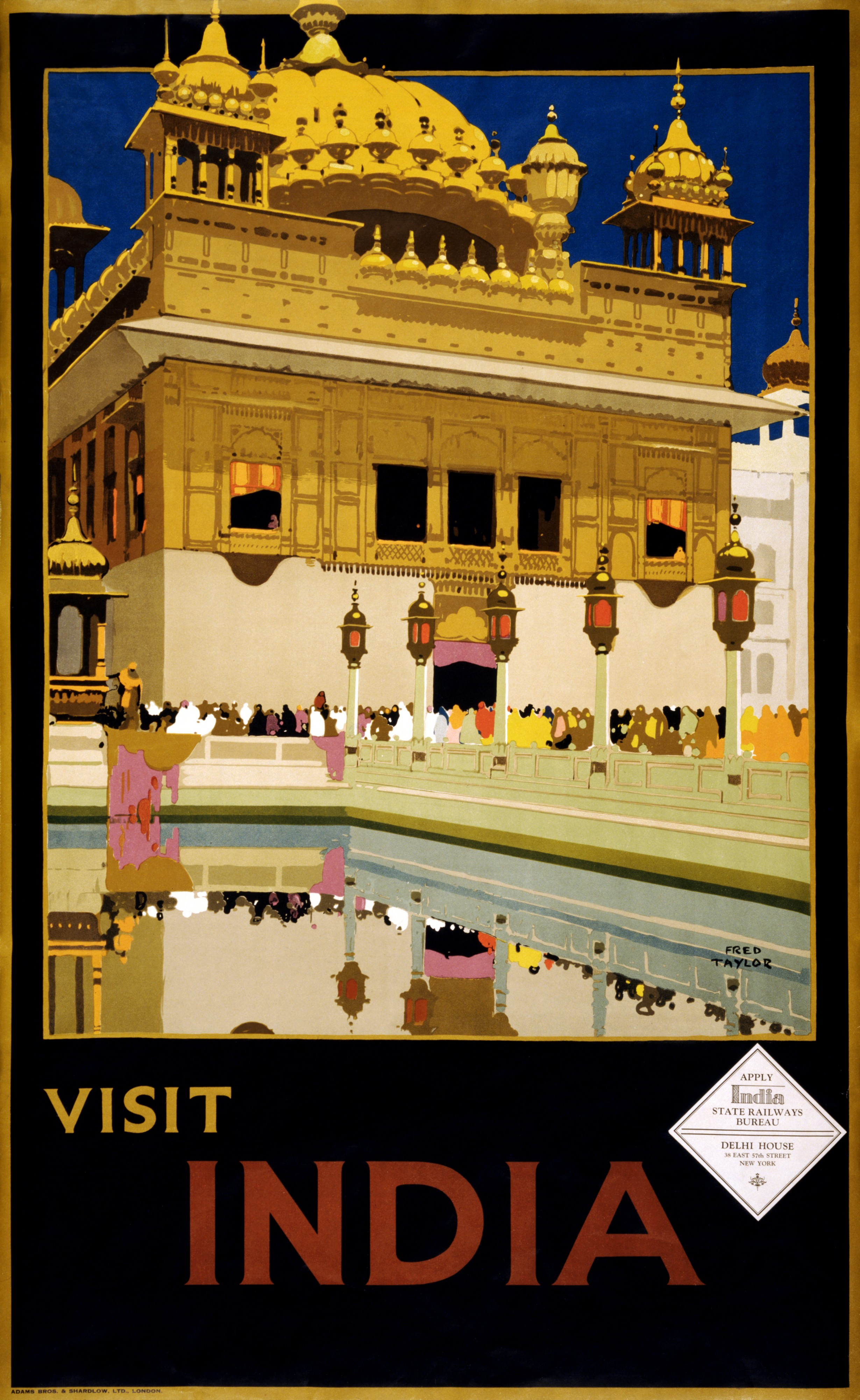 Visit India, travel poster, ca. 1935