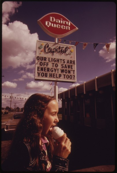 AFTER THE OREGON GOVERNOR BANNED NEON AND COMMERCIAL LIGHTING DISPLAYS, FIRMS USED THEIR UNLIT SIGNS TO CONVEY ENERGY... - NARA - 555390