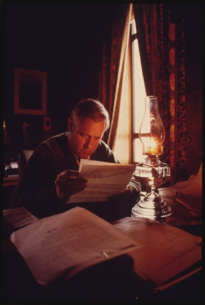 McCall using kerosene lamp