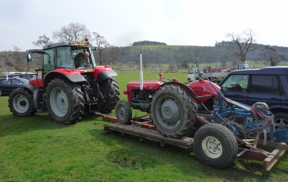 Red Massey Ferguson tractor towing a trailer with a red Massey Ferguson 35X in Bolton-By-Bowland, England