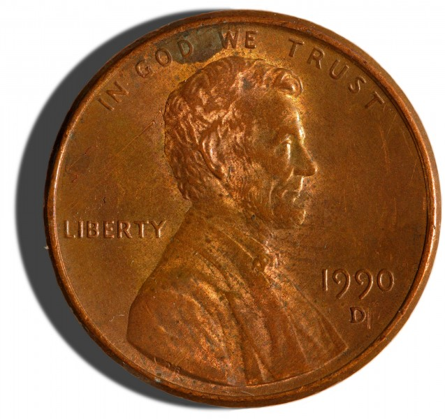 1990-issue US Penny obverse