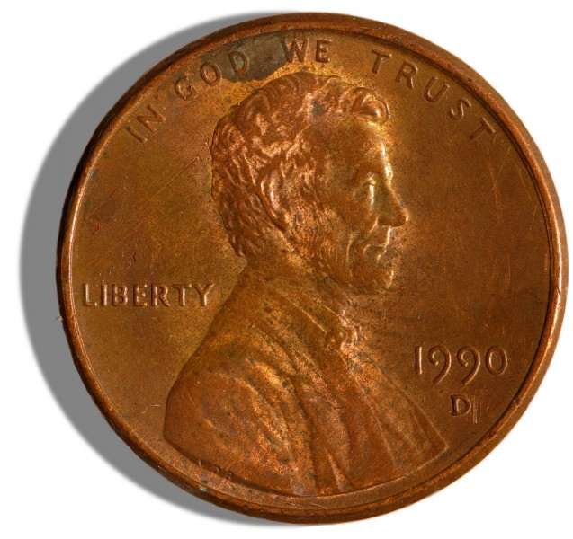 1990-issue US Penny obverse 2